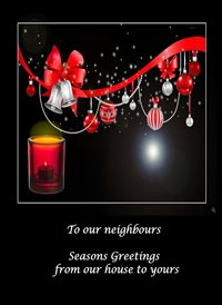 christmas Decorations Candle Black Red happy neighbours  z%a personalised online greeting card