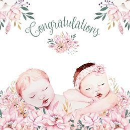 Baby Twins, Boy & Girl,  personalised online greeting card