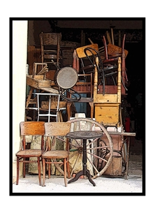 photography junk shop chairs tables stuff statue basket antiques collectible treasure personalised online greeting card