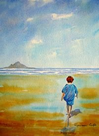 General artwork boy sea beach for-her for-children personalised online greeting card