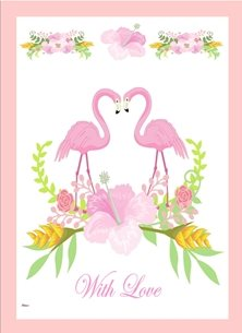General Flamingo Flowers Garland Pink Yellow White Green  Birthday wedding anniversary engagement personalised online greeting card