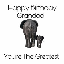Birthday , Grandad, Elephant personalised online greeting card