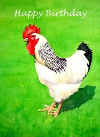 Birthday artwork hen cockerel farmyard birds for-her for-him personalised online greeting card