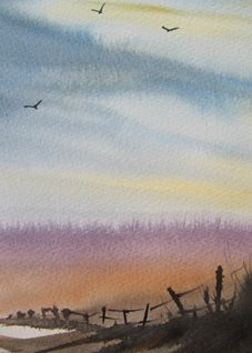 art Landscape, Countryside, fantasy, misty, marshes, tranquil,  birds, personalised online greeting card