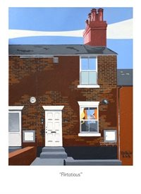 Storehouse Cards by Alan Taylor Flirtatious artists general Francis Bacon, Wivenhoe, Essex Scene, Essex townscape, brick houses,  house, studio, Alan Taylor Painting. original  personalised online greeting card