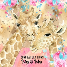 Wedding LGBT WEDDING LGBT giraffes celebration personalised online greeting card