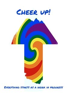 By Eva Work in Progress lgbt CHEER UP uplifting rainbow pride gay lgbt happy sad supportive for-him CFT for-her for-child personalised online greeting card