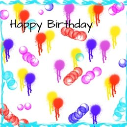 Birthday Colours,splashes, personalised online greeting card