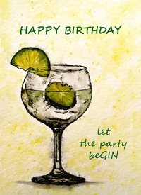 EmilyJane Let the party beGIN Birthday artwork gin drink  glass  funny  for-her for-him personalised online greeting card