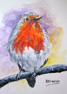 Art By Three  Robin Redbreast art Robins Birds redbreasts snow oils christmas for-him for-her mums dads general blank all occasions art him her  twigs trees branches feathers nature british wildlife animals nature  personalised online greeting card