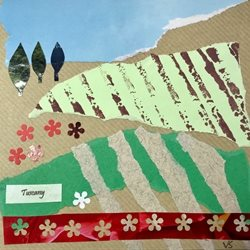 General Tuscany Italy trees cypresses poppies flowers collage field personalised online greeting card
