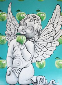 art apples cherub wings z%a personalised online greeting card