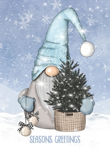 Seasons Greetings Blue Gnome