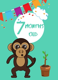 Monkey,Banner,Milestone 7 months,Colourful,Plant, personalised online greeting card