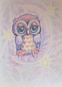 General owl, stars, moon, cute, whimsical, bird, night sky, for-her, for-children personalised online greeting card