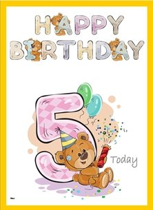 birthday children  Teddy Bear Number 5 Hat Yellow Purple Blue Happy  personalised online greeting card