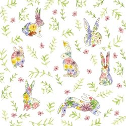 Easter stationary, spring, rabbits, wildflowers, bunnies,  flowers, daisies, violets, nature, seasonal, hop,bunny, silhouettes, hand-painted, basic, versatile, customizable, pattern, personalised online greeting card