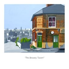 Storehouse Cards by Alan Taylor The Brewery Tavern art Pub, Wivenhoe, Colchester, Essex, Brook St, Paget Rd, Brewery personalised online greeting card