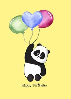 Birthday children Panda Balloons cute animals  personalised online greeting card