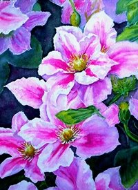 Art  artwork clematis flowers  for-her personalised online greeting card