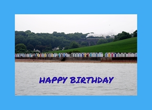 Birthday broadsands beach Paignton Devon beachhuts huts  doors steam trains viaducts sea personalised online greeting card