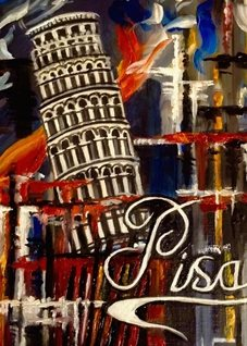 Art By Three  Carnival At Pisa General Art Leaning tower Pisa italy carnivals  general for-him for-her blank all occasions him her celebrations colours red orange blue  personalised online greeting card