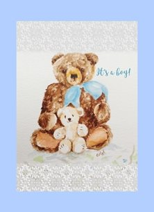 baby boy blue bear personalised online greeting card
