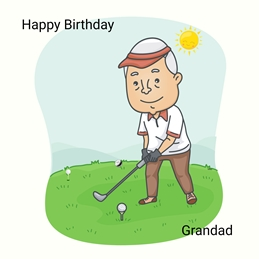 Birthday For Him Grandad Golf Green White Blue Yellow  personalised online greeting card