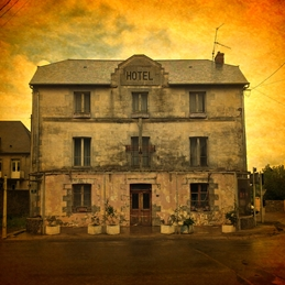 Off The Ramp Cards Hotel des Voyageurs - vue de face general France, French, hotel, romance, honeymoon, affaire, faded grandeur, derelict building,  personalised online greeting card