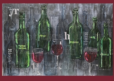 art Wine red chianti merlot Syrah wine glass bottle painting collage celebration drink personalised online greeting card