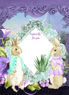 Her Nibs  Especially for you  Rabbits,Purple,Green, personalised online greeting card