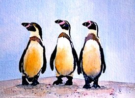 Art penguins wildlife black white pink blue zoo birds dad son  granddad friend uncle mum daughter Nan aunt  personalised online greeting card