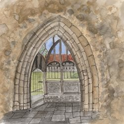 General Old church doorway Buildings   personalised online greeting card