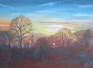 Little Liz Happy Art Sunset Art sunset, blue, red, yellow, orange, pink, trees, sky, sun, romantic, peaceful, beautiful, for-him for-her personalised online greeting card