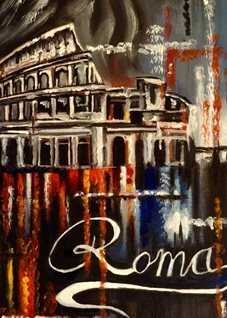 Art By Three  Carnival In Rome General Art rome italy colloseum general for-him for-her blank all occasions celebrations abstract art him her bonvoyage red blue yellow abstract carnivals  personalised online greeting card