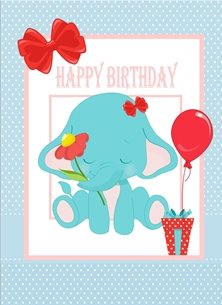 Her Nibs  Ella the Elephant (Blue) birthday Elephant balloon gift flower bows blue red pink white happy  personalised online greeting card