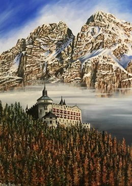 fine art mountains trees castle Austria clouds general blank all occasions for-him for-her  nature Alps personalised online greeting card