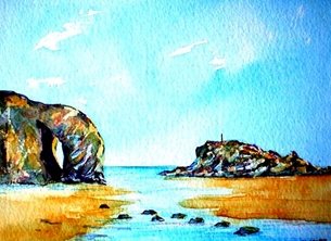 art artwork Perranporth Cornwall sand sea sky for-him for-her personalised online greeting card