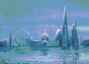 London, Cityscape, moonlight personalised online greeting card