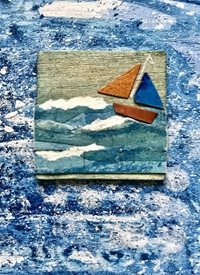 General Sea seascape sailing collage painting blue l beach boat yacht for-him personalised online greeting card