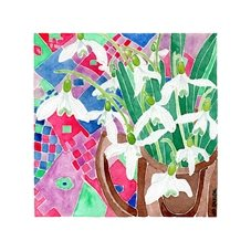 general art snowdrops picture, floral, flowers, blank card, garden, watercolour painting, plants, personalised online greeting card