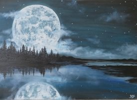 art moon, blue, lake, trees, gothic, dark, mooscape, landscape, seascape z%a personalised online greeting card