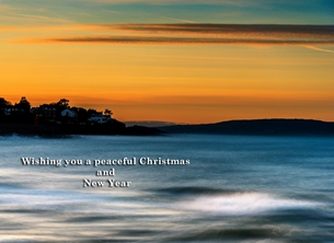 christmas year Christmas, Xmas, sunset, winter, warm, peaceful, serene, tranquil, sea, coast, seaside, bangor, northern ireland personalised online greeting card