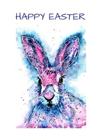 Easter Easter hare animal pink blue dad son  granddad  uncle mum daughter Nan aunt friend personalised online greeting card