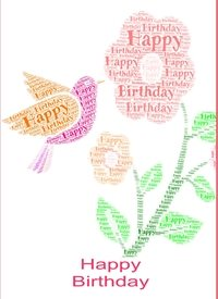 Birthday  bird flower female  personalised online greeting card