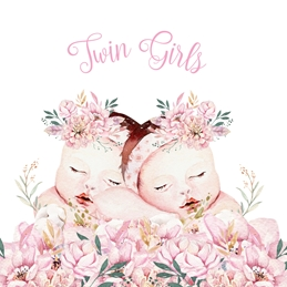 Twin Girls - New Baby Card