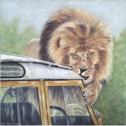 art lion big cat landrover animal wildlife personalised online greeting card