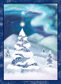 Christmas Winter Solstice, trees, pine  snowflakes, snow,  angel, lights, whimsical personalised online greeting card