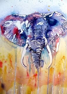 art Elephant, Africa, Wild Life, Jungle, trunk, ears,, savannah, grass, abstract, animals personalised online greeting card