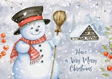 Christmas snowman celebration family friends personalised online greeting card